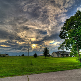 Side Yard by Michael  Kitchen - Landscapes Weather ( clouds, yard, hdr, handheld, green, street, beautiful, yellow, house, gray, saturating, landscape, pretty, saturate, sun, sky, saturation, blue, sunset, weather, cloud, grey, gloomy )
