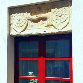 Coffee time at the window.  by Danijela Danći - Buildings & Architecture Architectural Detail ( modern, red, window, coffee  cup, architecture, historical, flowers )
