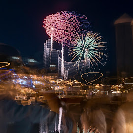 Fireworks over Shelter Cove by Chris Smith - Public Holidays July 4th ( harbor, bay, firework, fireworks, marina )