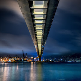 Spectacular night view under the bridge by Johnny Lee - Buildings & Architecture Bridges & Suspended Structures ( clouds, structure, hongkong, horizon, road, architecture, cityscape, landscape, photography, city, urban, landmark, lightning, sky, nature, photographer, perspective, long exposure, bridge, darkness )