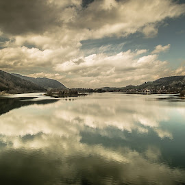 Schliersee Mirror - 2015 by Thomas Hertz - Landscapes Waterscapes ( bavaria, waterscape, windy, dramatic, sea, cloud, lake, schliersee, spring )