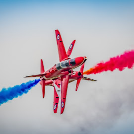 Close Crossover, Red Arrows. by Anthony P Morris - Transportation Airplanes ( arrows, red, crossover, anthony morris, display, jet, airdisplay, airshow, close, redarrows )