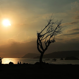 Meresek Beach by Ario Suhodo - Landscapes Beaches ( sunset, silhouette, indonesia, lombok, beach )