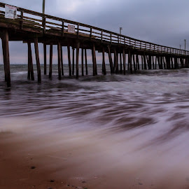 Early Morning @ The Pier by Allen Wesley - Buildings & Architecture Bridges & Suspended Structures ( water, beach scene, wooden pier, waterscape, suspended structure, pier, ocean front, sunrise, ocean view )