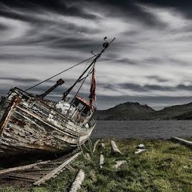 Hrönn by Bragi Ingibergsson - Transportation Boats ( water, mountains, old, iceland, wood, brin, bragi j. ingibergsson, hrönn, sea, landscape, boat, fjord, abandoned )