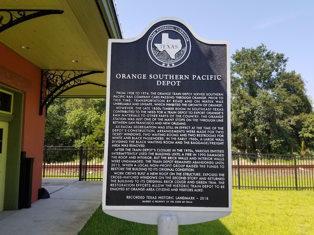 From 1908 to 1974, the Orange train depot served Southern Pacific Rail company cars passing through Orange. prior to this time, transportation by road and on water was unreliable and unsafe, which ...