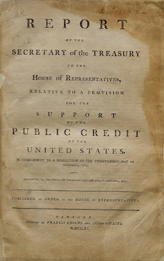 """In 1790, Treasury Secretary Hamilton presented to Congress two reports on public credit, one of which suggested the establishment of a national bank.  In the first report, shown here, Hamilton proposed a way to pay off America's lingering war debts and to bring the nation into the modern financial era.  View the report on the <a href=""""http://www.gilderlehrman.org/collections/9b4c6cae-837e-446d-b36a-236312698031"""">Gilder Lehrman website</a>."""