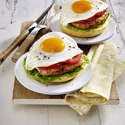 Open-Faced Pork Sandwich with Fried Egg