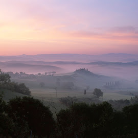 Tuscan pastel sunrise by Gale Perry - Landscapes Prairies, Meadows & Fields ( tuscany, distant hill villa, pastel pinks and blues, sunrise, rolling hlls, landscape )