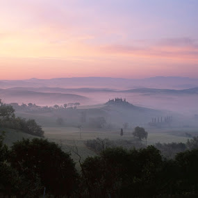 Tuscan pastel sunrise by Gale Perry - Landscapes Prairies, Meadows & Fields ( tuscany, distant hill villa, pastel pinks and blues, sunrise, rolling hlls, landscape,  )