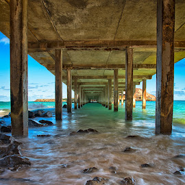 Under the Pier by Brent Sharp - Buildings & Architecture Bridges & Suspended Structures ( hdr, colorful, beautiful, pier, ocean, beach, rocks, hawaii )