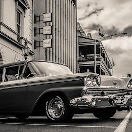 Lydiard St by Cheryl Muir - City,  Street & Park  Street Scenes ( car, ballaratbeatrockabillyfetival, black and white, lydiardst, ballarat )