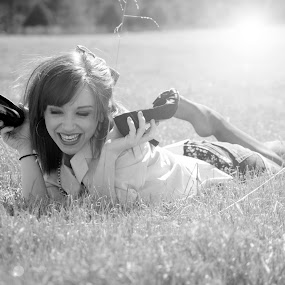 Bailey Laughing by Sarah Minnihan - People Portraits of Women ( field, laugh, summer, smile, flare, women )