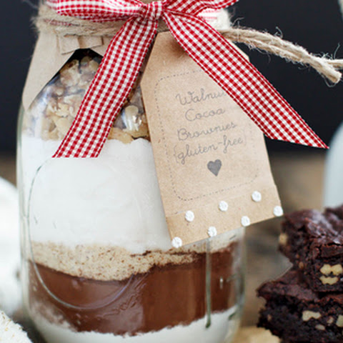Gluten Free Walnut Cocoa Brownies in a Jar