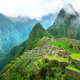 Heights of Civilization by Craig Bill - Uncategorized All Uncategorized ( green, pano, panoramic, travel, machu picchu )