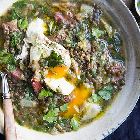 Smoked Ham Hock And Lentil Soup With Parsley And Poached Eggs
