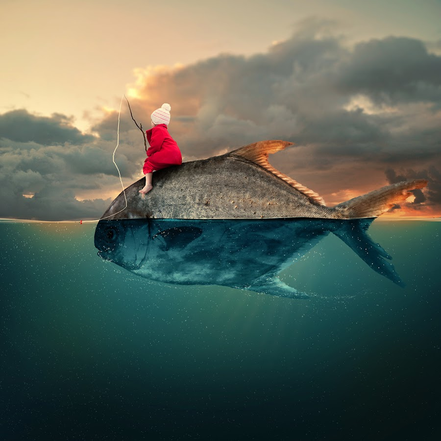 Water world girl by Caras Ionut - Digital Art Things ( water, clouds, tutorials, reflection, fish, manipulation, psd, sky, strong, boar, drum, gold, fishing, gem, fisherman, man, photoshop )