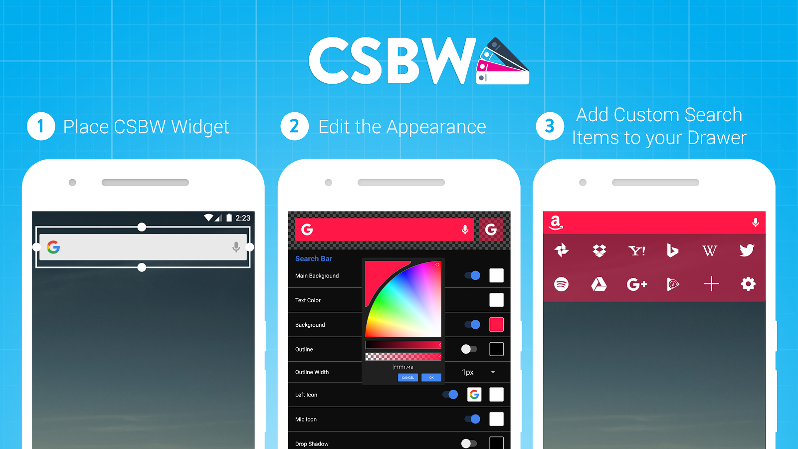 Custom Search Bar Widget CSBW Screenshot 0