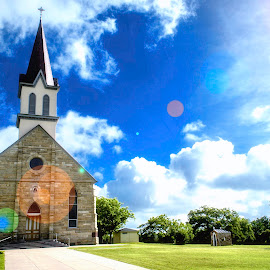 Glory Shines by Paul Frese - Buildings & Architecture Places of Worship ( clouds, sky, steeple, church, blue, jesus, holy, worship )