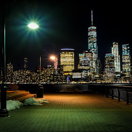 Exchange Place by Jim Hamel - City,  Street & Park  Night ( skyline, buildings, manhattan, night, new jersey )