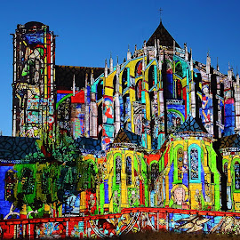 Lights on the cathedrale by Gérard CHATENET - City,  Street & Park  Street Scenes