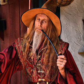 Keeper of Dragon Lore by Jen Millard - People Portraits of Men ( dragon, ren, costume, wizard, man, pipe, lore )