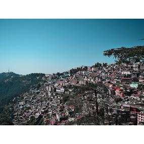 Shimla 2 by Pranab Sarkar - Landscapes Mountains & Hills ( mountain, blue, city, views, landscape )