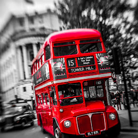 Number 15 by Matt Cooper - City,  Street & Park  Street Scenes ( trafalgar, bus, red, london, blur, square )