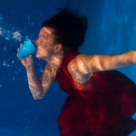 Caro by Daniel Thomas - Nudes & Boudoir Boudoir ( water, red, underwater, woman, sensual )