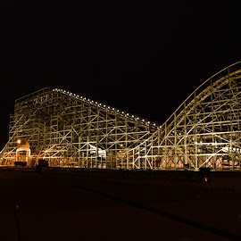 zippin pippin at night by Michael Graham - City,  Street & Park  Amusement Parks ( wooden roller coaster, wisconsin, amusement park, amusement ride, theme park, roller coaster, wooden coaster )