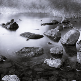by Martin Hedlund - Nature Up Close Rock & Stone ( nikon d90 görväln järfälla stockholm sweden mälaren water lake long exposre stones b&w )