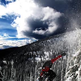 Going big on Big Mountain by Michael Nania - Sports & Fitness Snow Sports ( snowboard, mountain, snow, whitefish, big mountain, snowboarding, jump, nitro )