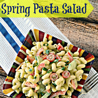 Spring Pasta Salad with Lemon Avocado Dressing