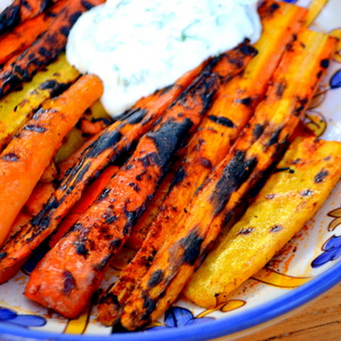 Grilled Spiced Carrots with Lemon Cilantro Yogurt Sauce
