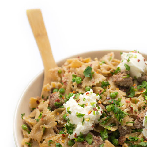 Whole Wheat Pasta with Sausage, Peas and Ricotta