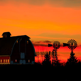 SUNSET FARM SILOUHETTE by Gerry Slabaugh - Buildings & Architecture Other Exteriors ( farm, orange, barn, sunset, windmills,  )