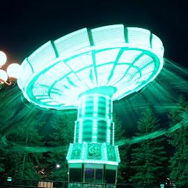Tis The Season to Turn, Turn, Turn by Reuben Nelson - City,  Street & Park  Amusement Parks ( swinging, amusement park, amusement ride, swings, amusement park ride, amusement parks, swing )