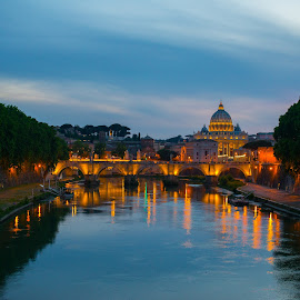 Vatican from Ponte Umberto I by Photoxor AU - Buildings & Architecture Places of Worship ( reflection, rome, ponte umberto i, vatican, st peter basilica, tiber, river )