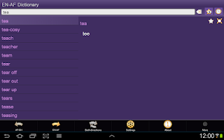 Screenshot of English Afrikaans Dictionary F