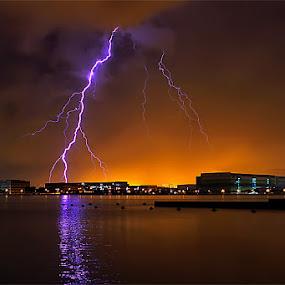 Strike The Earth by Joseph Goh Meng Huat - Landscapes Weather ( lightning, pandan reservoir, strike the earth, singapore )