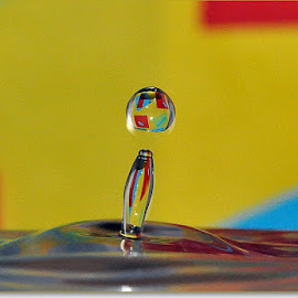colorful waterdrrop by Paul Wante - Abstract Water Drops & Splashes ( water, abstract, blue, drop, yellow )