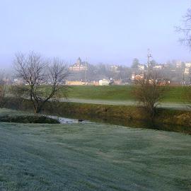 Galena Frosty Morning Vista by Kathy Rose Willis - City,  Street & Park  Vistas ( hillside, foggy, galena, illinois, vista, frost, town )