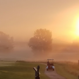 First Tee Time by Vicki Miesle - Sports & Fitness Golf ( golf course, golf, sunrise )