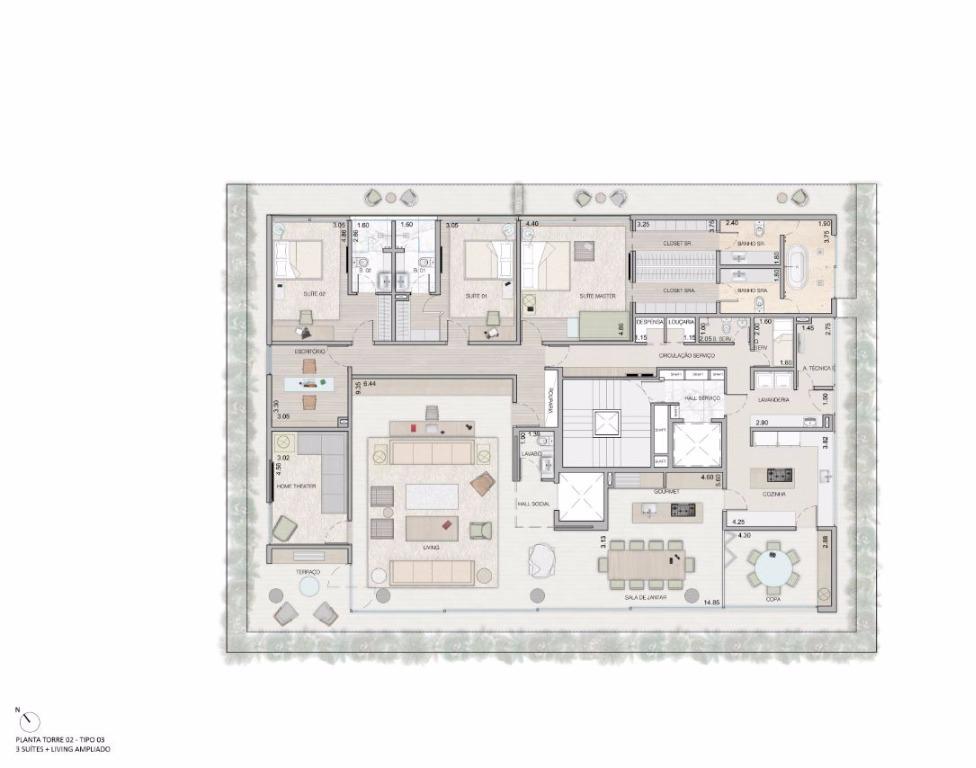 Planta Opção -  3 Suítes Living Ampliado - 459 m²