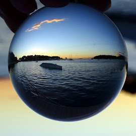 Sunset in the glass sphere by Patrizia Emiliani - Artistic Objects Glass ( sfera, vetro, sunset, glass )