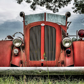 Vintage Fire Truck by Lavonnia Ballard - Transportation Automobiles ( old, red, vintage, firetruck, rusty )