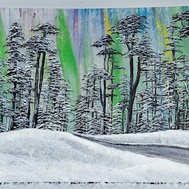 Through the Woods by Paula Moore - Painting All Painting ( winter, tree, snow, northern lights, acrylic, trees, scenery, landscape, painting, woods )