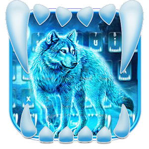 Neon Night Wolf Keyboard Theme