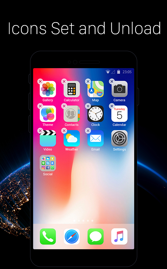 launcher f r ios neues iphone x ios 11 style theme android apps download. Black Bedroom Furniture Sets. Home Design Ideas
