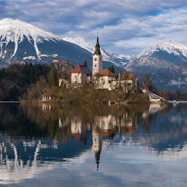 Lake reflection by Jernej Grosar - Buildings & Architecture Places of Worship ( water, reflection, mountains, church, snow, lake, island )